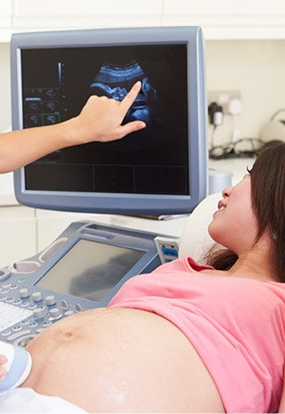 Woman getting ultrasound